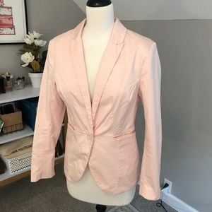Fitted Salmon Pink H&M Single Button Blazer